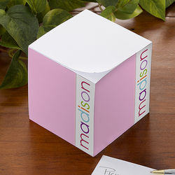 Girl's Personalized Notepad Cube