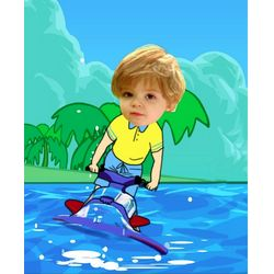 Your Photo in a Jet Skiing Caricature