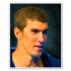 Michael Phelps Oil Painting Giclee Art Print