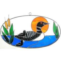 Stained Glass Loon on Oval Ring