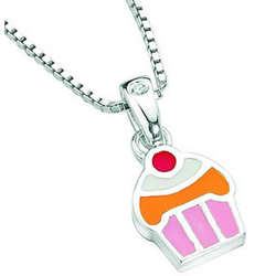 Resin Cake Childrens Pendant in Sterling Silver