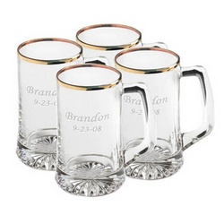 Personalized Gold Rimmed Sports Mugs