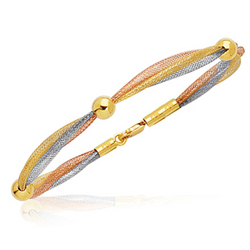 Mirror Spring Beaded Bangle in 14K Three Tone Gold
