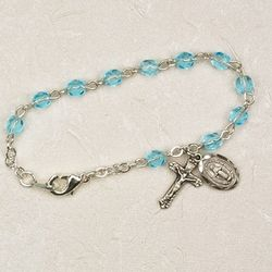 Sterling Silver Aquamarine Baby Rosary Bracelet