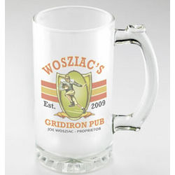 Gridiron Design Personalized Frosted Beer Mug
