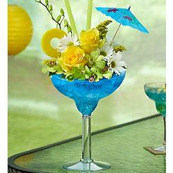 Blue Hawaiian Floral Margarita Bouquet of Flowers