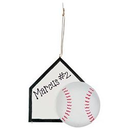 Personalized Baseball and Base Ornament