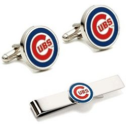 Chicago Cubs Cufflinks and Tie Bar Set