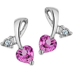 Created Pink Sapphire Heart Earrings with Diamond Accents