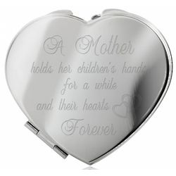 A Mother's Heart Silver Compact Mirror