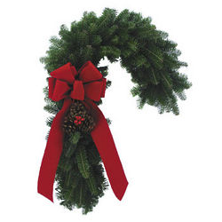 Candy Cane Shaped Wreath