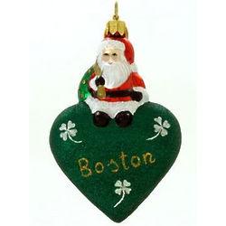 Santa with Love Boston Ornament