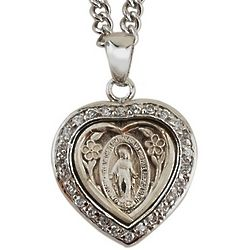 Sterling Silver Miraculous Medal Heart Pendant