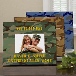 Military Camo Personalized Horizontal Picture Frame