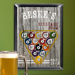 Personalized Billiards Man Cave Pub Sign