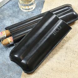 Monogrammed Black Leather Cigar Holder