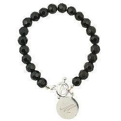 Personalized Black Crystal Beaded Bracelet