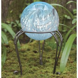 Pearly Glass Gazing Ball With Metal Stand