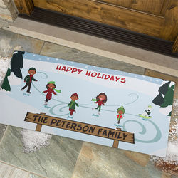 Ice Skating Family Character Personalized Oversized Doormat