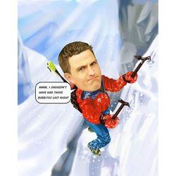 Mountain Climber Custom Caricature Art Print