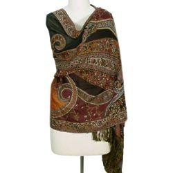 Himalayan Heirloom Indian Jamawar Wool Shawl with Paisley Motifs