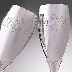 Crystal Accents Monogrammed Wedding Flutes