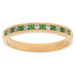 Diamond & Emerald Channel Set Band in 14K Yellow Gold