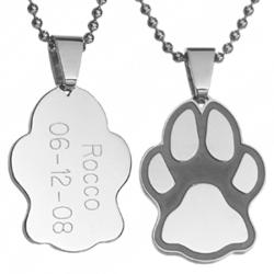 Cat or Dog Paw Print Engraved Stainless Steel Pet Pendant