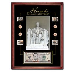 Lincoln Bicentennial Framed Coin and Stamp Tribute