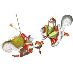 Brewster Krinkles Mr & Mrs Squirrel Ornament Set