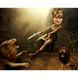 She's in Trouble and I Ain't Lion Caricature Art Print