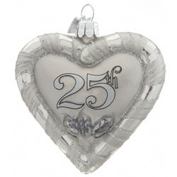 25th Anniversary Heart Christmas Ornament
