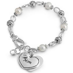 Fresh Water Pearls Mom Heart Charm Bracelet