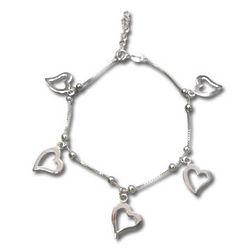 Sterling Silver Adjustable Cut Out Heart Charm Bracelet