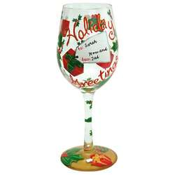 Personalized Holiday Greetings Wine Glass