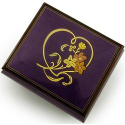 Purple Heart and Floral Wood Inlay Music Box