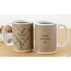 Personalized Heart in Sand Mugs