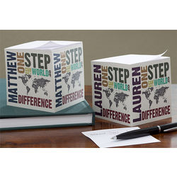 Personalized Make A Difference World Map Note Cube