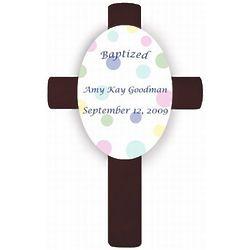Personalized Polka Dot Baptismal Cross