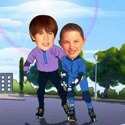 Your Photo in a Rollerblading Caricature
