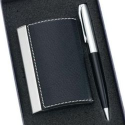 Black Leatherette Card Holder with Matching Pen