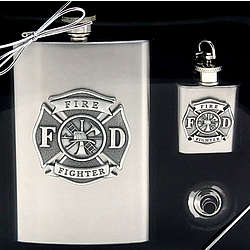 Firefighter Flask Gift Set