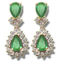 Emerald & Diamond Earrings in 14K Gold