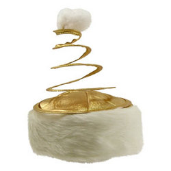 Gold and White Coil Spring Hat