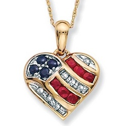 Sapphire, Diamond Accents and Lab-Created Ruby Patriotic Pendant