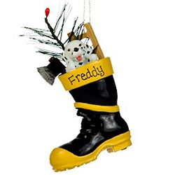 Fireman Boot Personalized Christmas Ornament