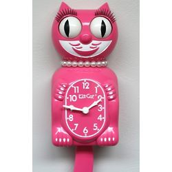 Honeysuckle Pink Lady Kit Cat Clock
