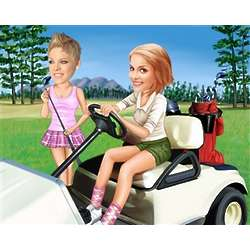 Golf Cart Cruising Caricature from Photos