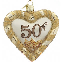 50th Anniversary Heart Christmas Ornament