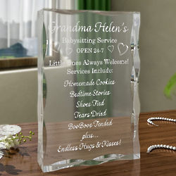 Personalized Babysitting Service Plaque